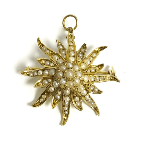 14K Yellow Gold Pearls in Sunburst Design Brooch Brooches & Pins Miscellaneous