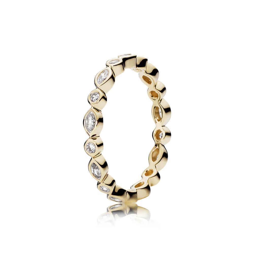 Pandora Gold Alluring Brilliant Ring, Size 7 1/2 Rings Pandora
