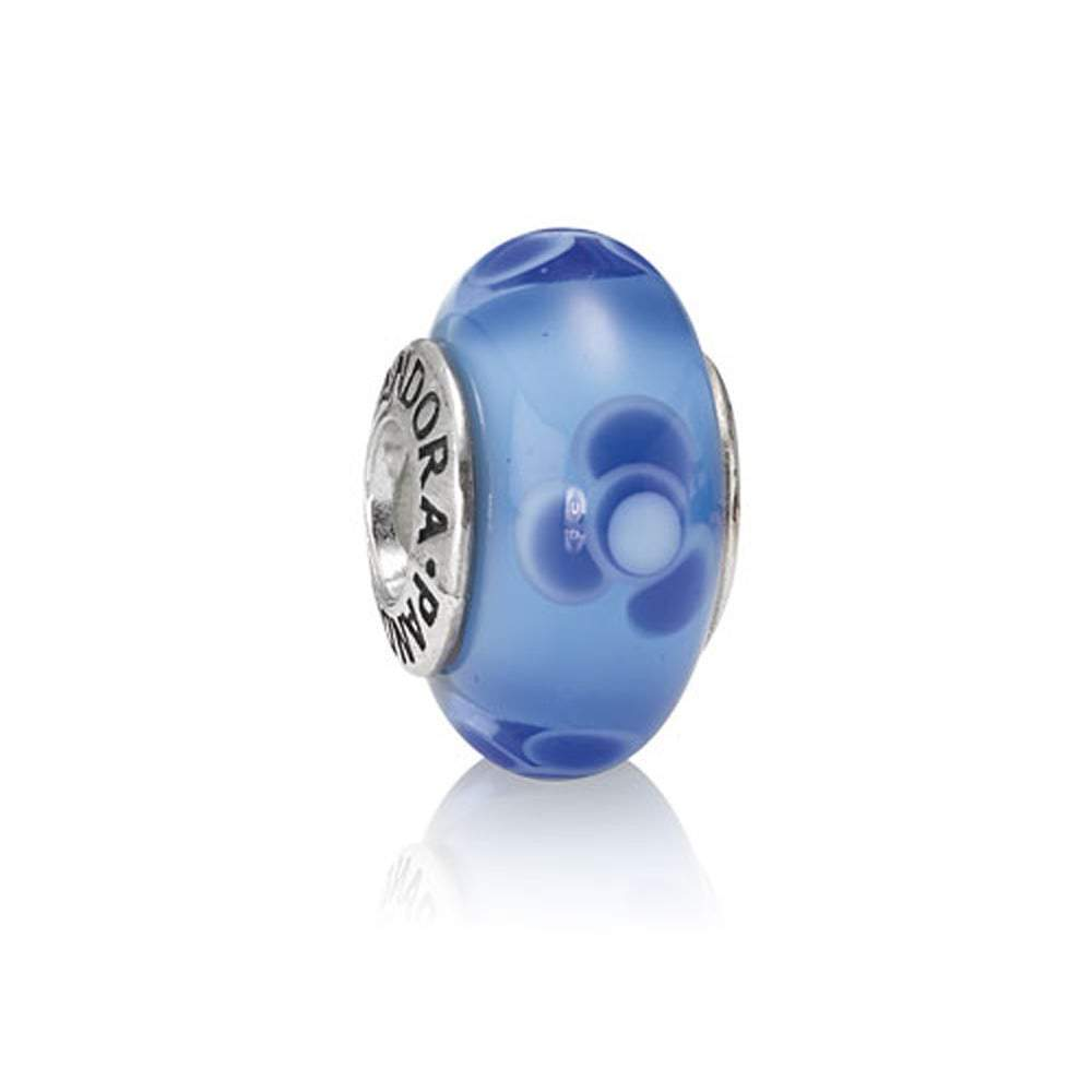 Pandora Blue Flowers For You Murano Glass Charm