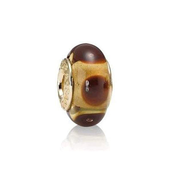 Pandora Gold Brown Mystic Murano Glass Charm Charms & Pendants Pandora