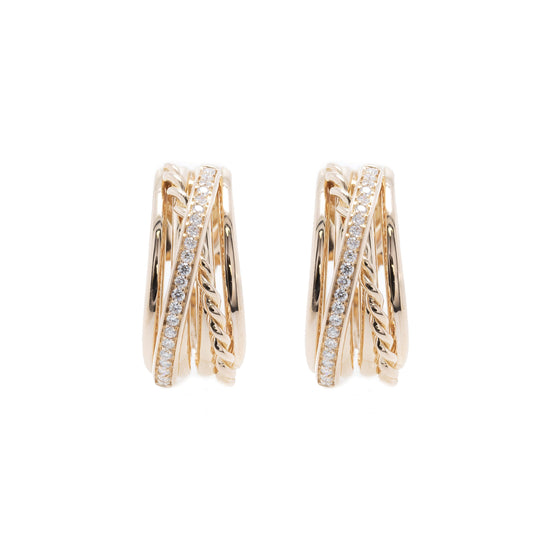 18k Rose Gold Diamond Crossover Hoop Earrings Earrings Miscellaneous