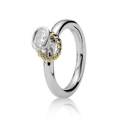 Pandora 2-Tone Clear CZ Stacking Ring, Size 8 1/2 Rings Pandora