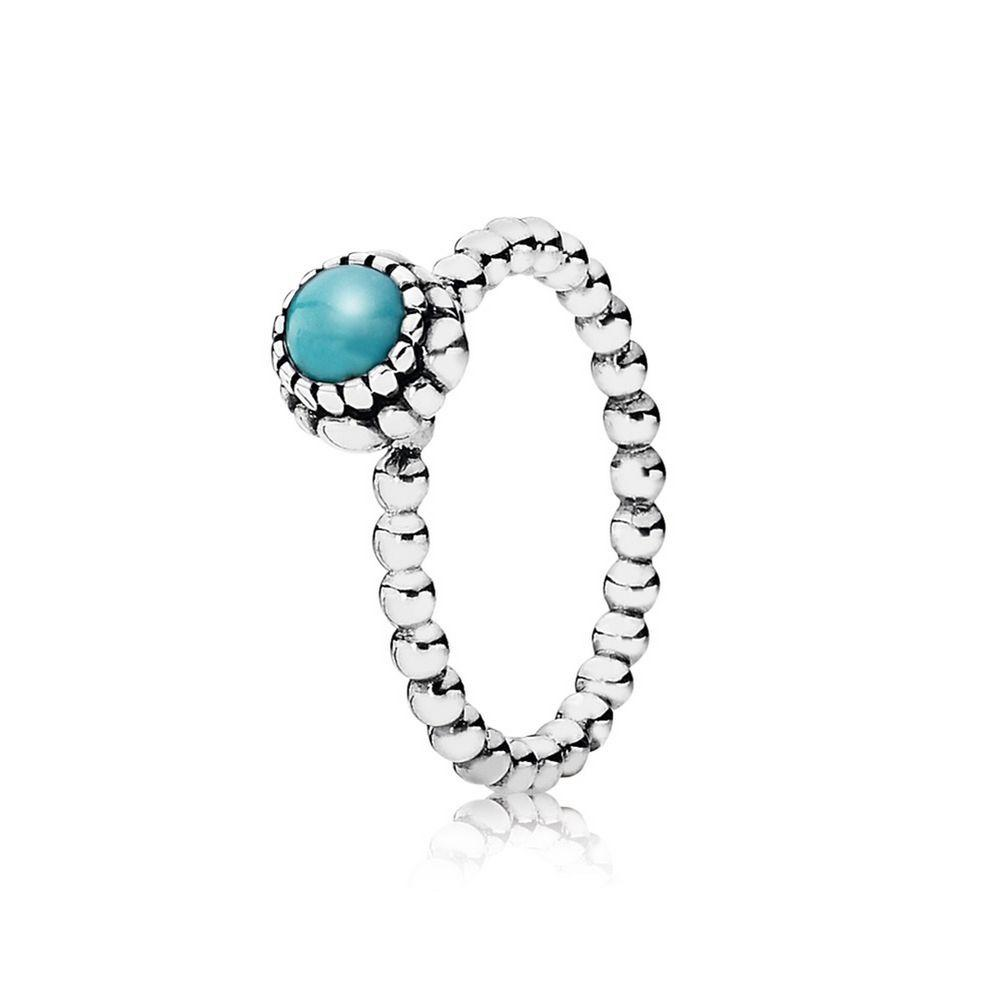 Pandora Birthday Blooms, December Turquoise Ring Size 8 1/4 Rings Pandora
