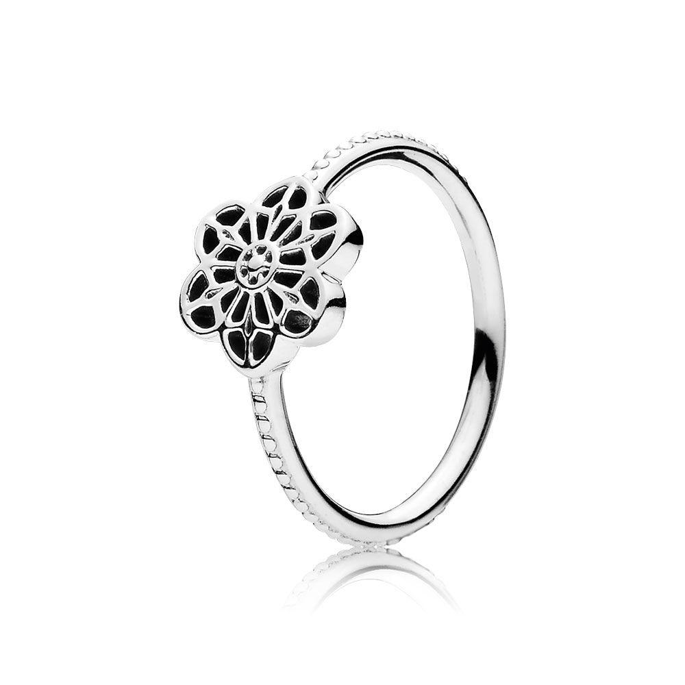 Pandora Floral Daisy Lace Ring, Size 8 1/2 Rings Pandora