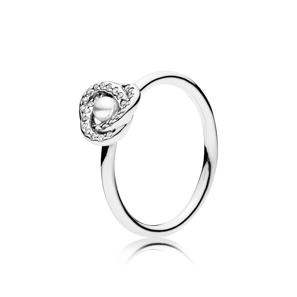 Pandora Luminous Love Knot Ring with Pearl & Clear CZ, Size 8 1/2 Rings Pandora