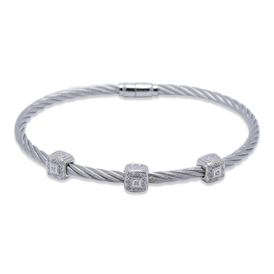 Charriol Three Station Diamond Cable Bracelet Bracelets Charriol