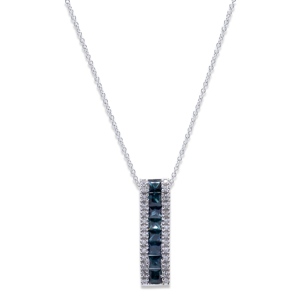 Effy Blue Sapphire and Diamond Pendant Necklace