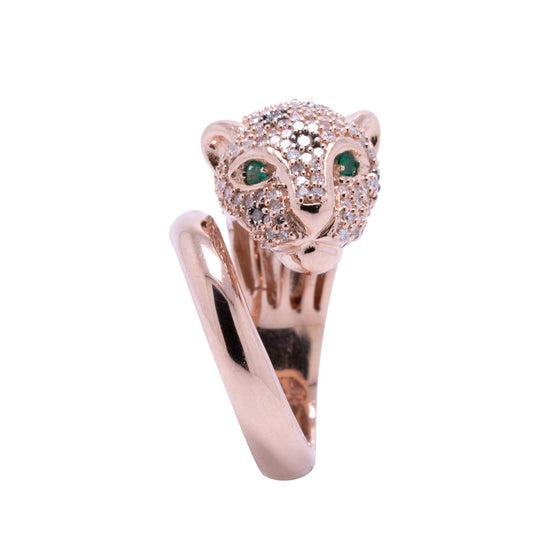 Effy Rose Gold and Diamond Panther Ring Rings EFFY