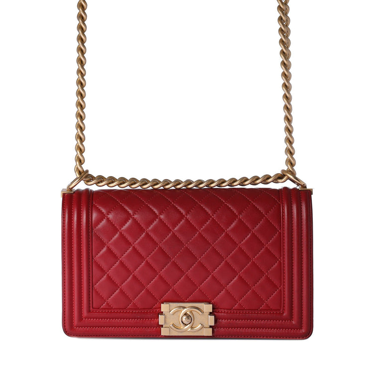Chanel Red Medium Boy Bag
