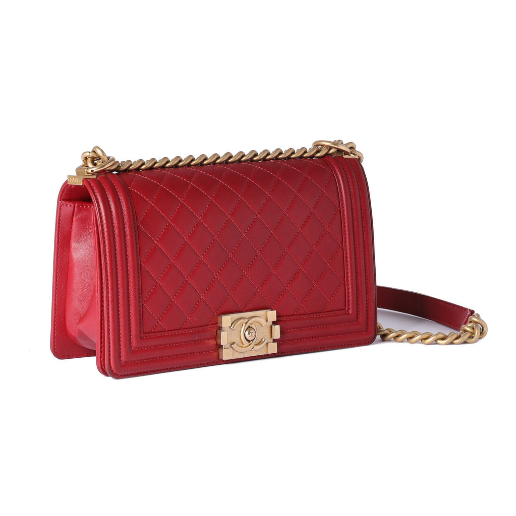 Chanel Red Medium Boy Bag Bags Chanel