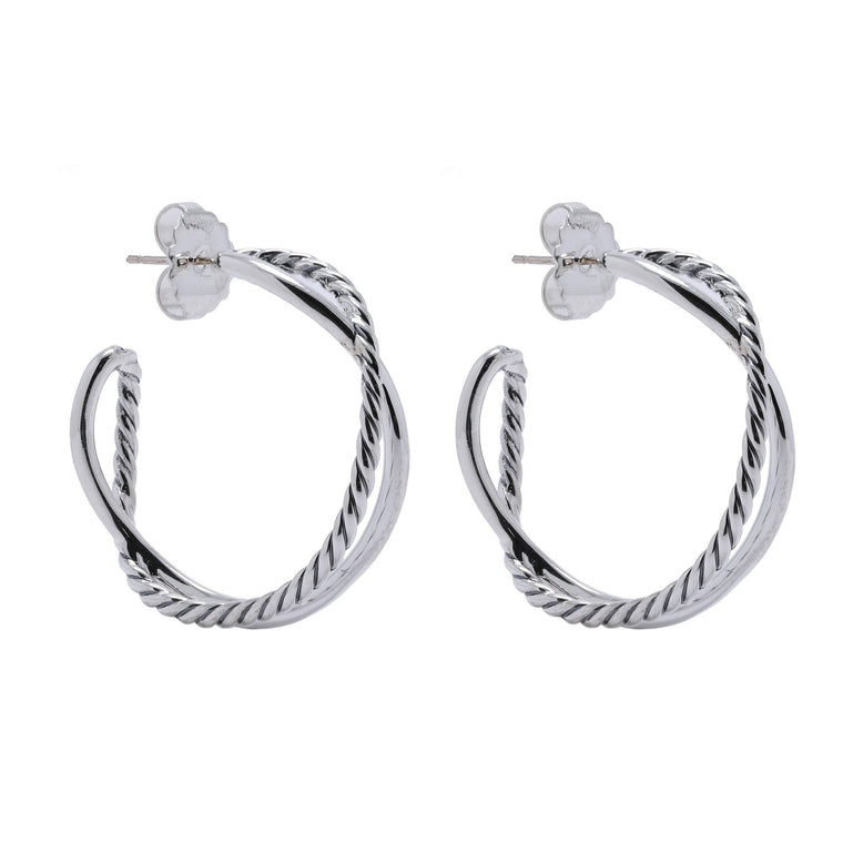 David Yurman Crossover Hoop Earrings Earrings David Yurman