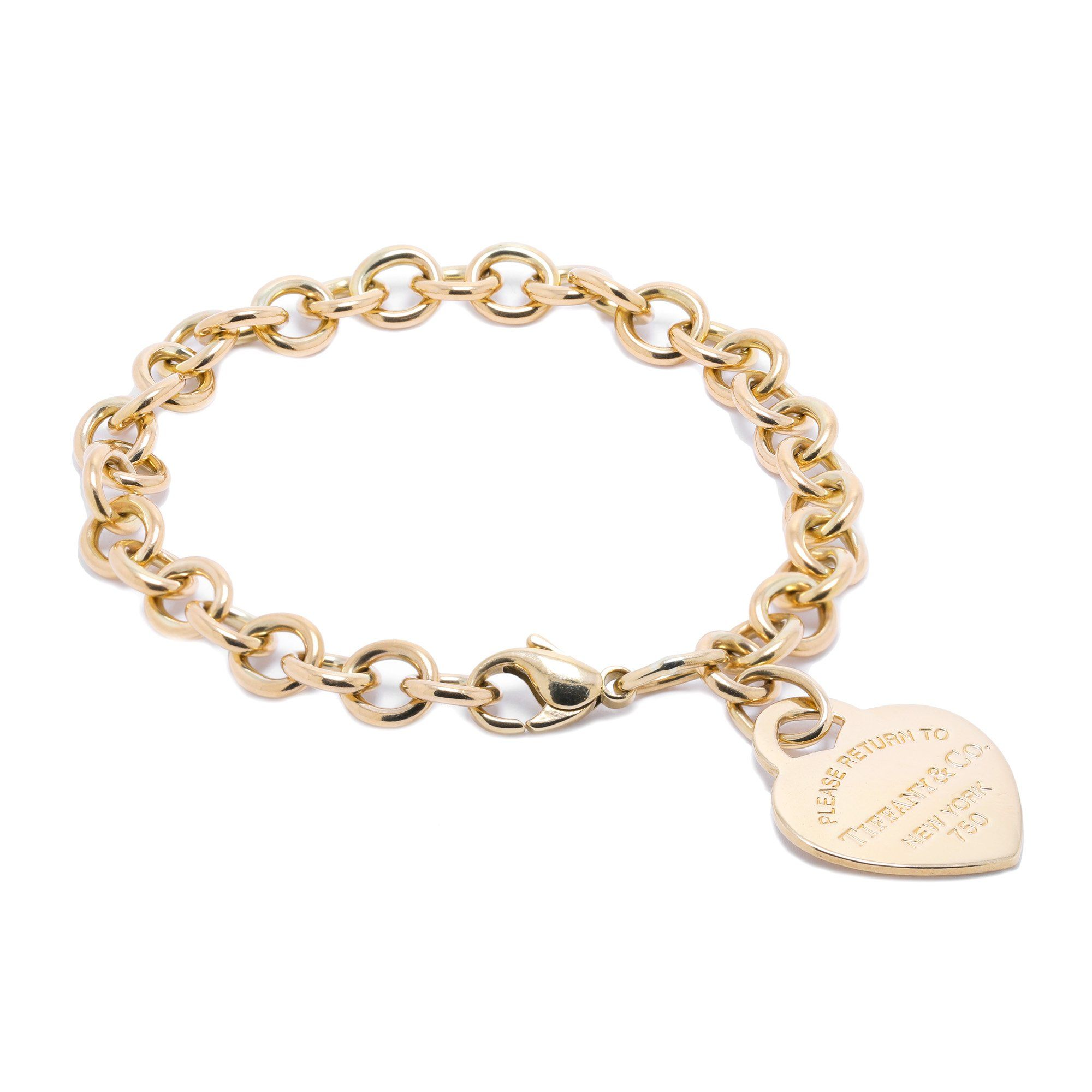 a363776df Tiffany & Co. 18k Gold Return to Tiffany Heart Tag Charm Bracelet Bracelets  Tiffany ...