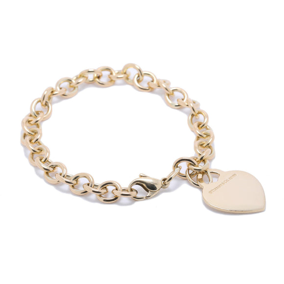 Tiffany & Co. 18k Gold Return to Tiffany Heart Tag Charm Bracelet