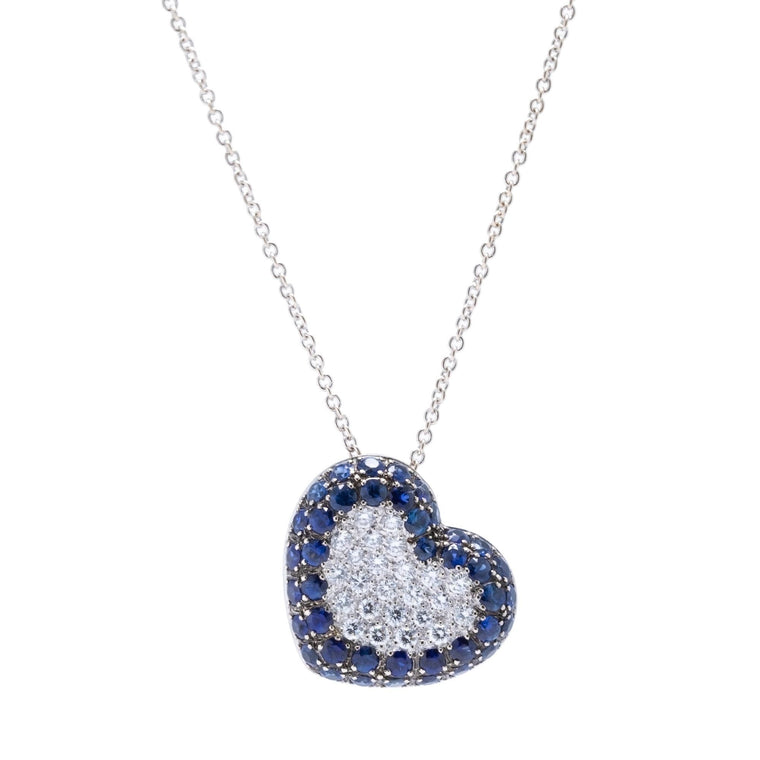 Blue Sapphire and Diamond Heart Pendant Necklace