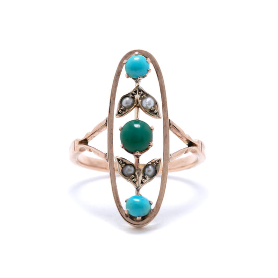 Antique Art Deco Turquoise and Seed Pearl Ring