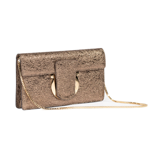 Salvatore Ferragamo Metallic Thalia Clutch