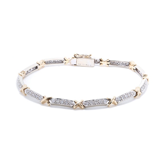 Two-Tone Diamond 'X' Tennis Bracelet