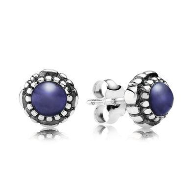 Pandora Birthday Blooms September Lapis Lazuli Earrings - Earrings