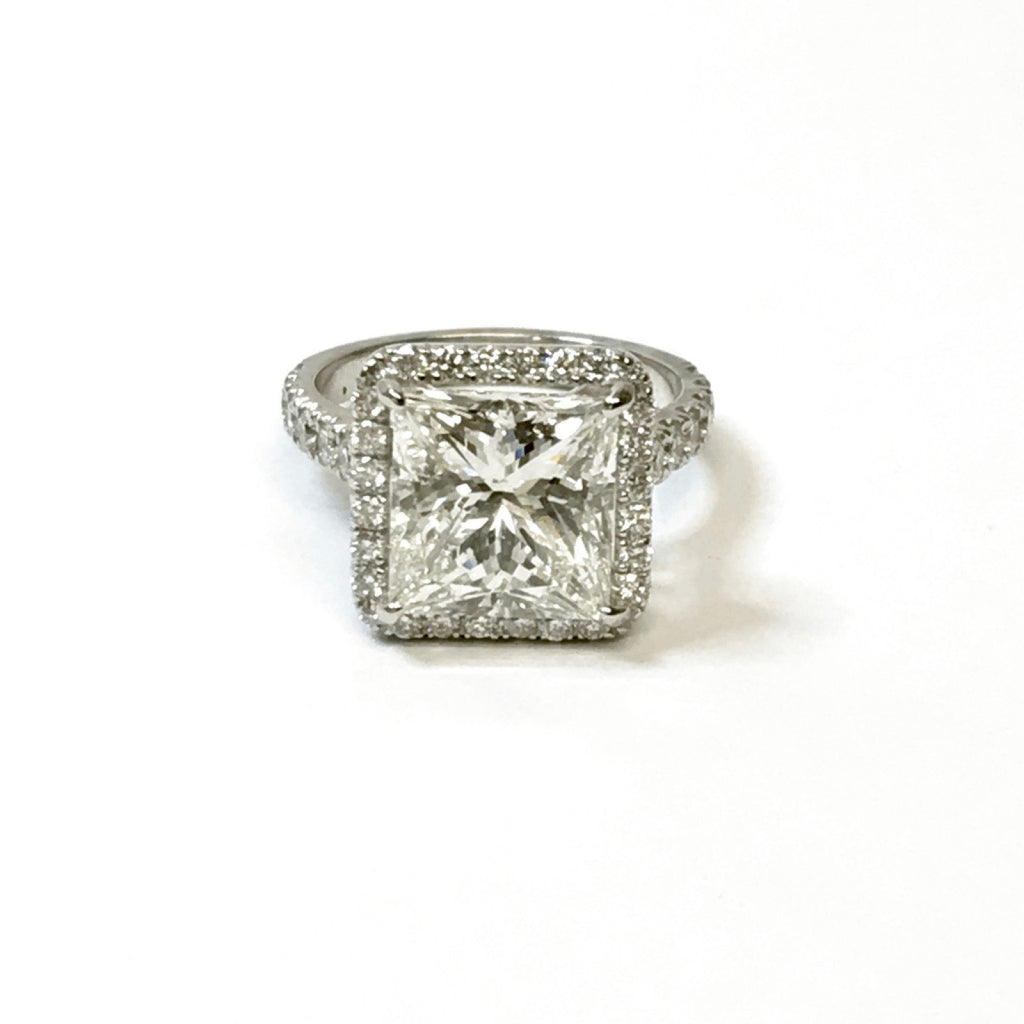 5.11ct Princess Cut Halo Design Diamond Engagement Ring Rings Miscellaneous