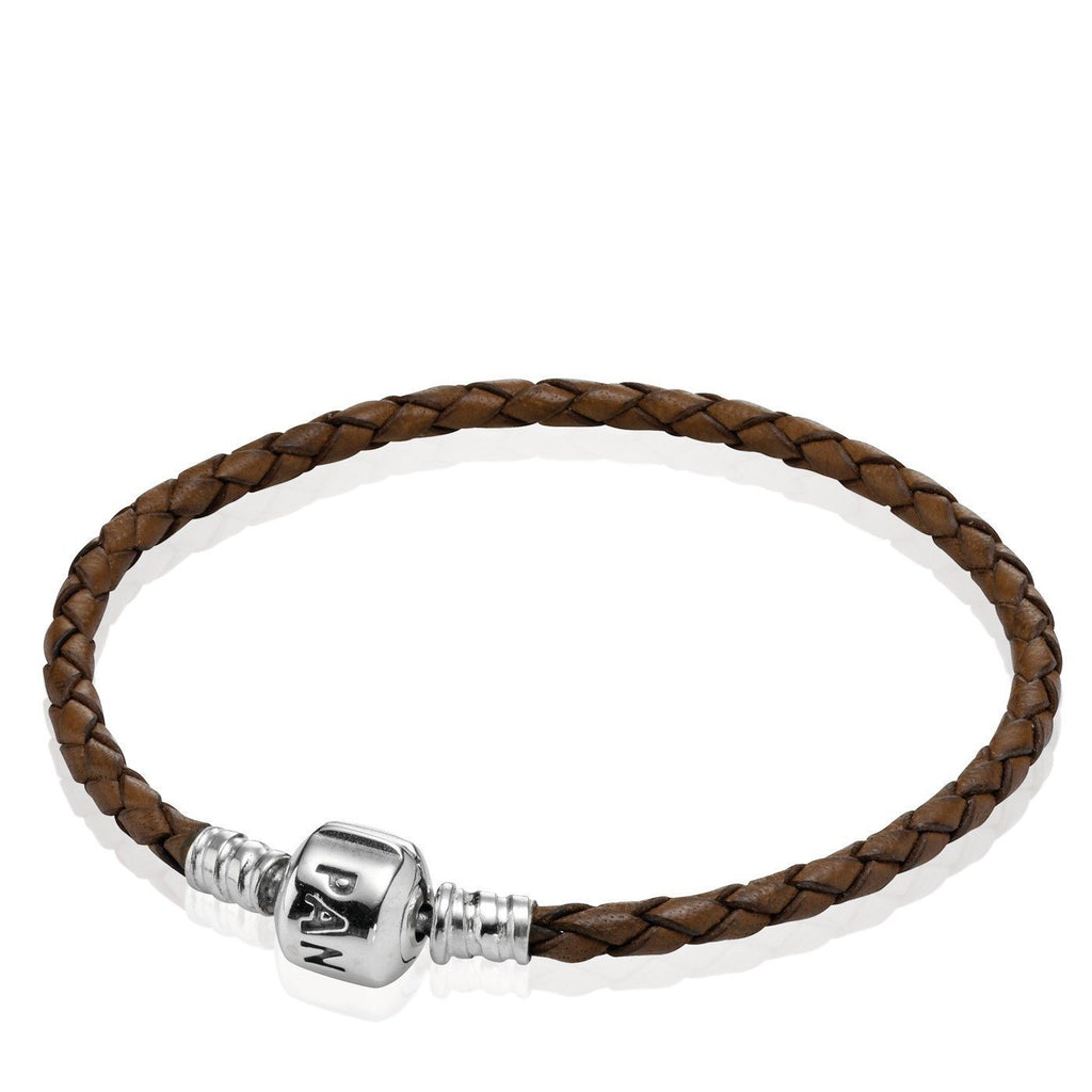 Pandora Brown Braided Leather Bracelet, 17 cm