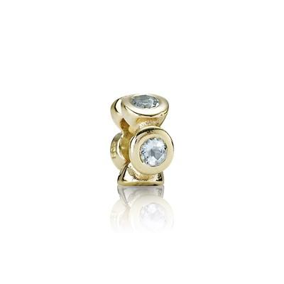Pandora Gold Lights Spacer Charm with Aquamarines Charms & Pendants Pandora