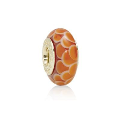 Pandora Gold Orange Lotus Murano Glass Charm Charms & Pendants Pandora