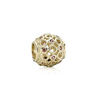 Pandora Gold Celtic Circles Charm with Pink Topaz Charms & Pendants Pandora