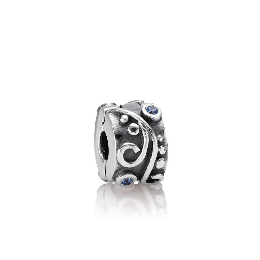 Pandora Tendril Clip Charm with Blue CZ Charms & Pendants Pandora
