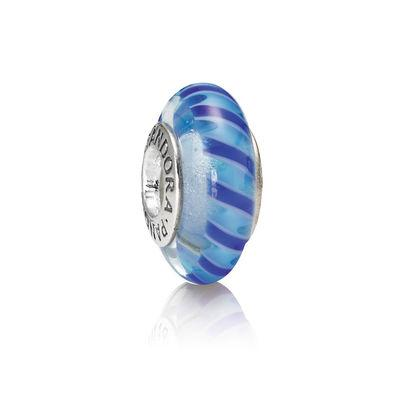 Pandora Blue Stripe Murano Glass Charm