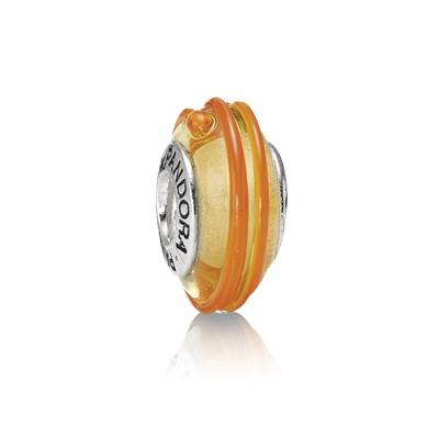 Pandora Orange Ribbon Murano Glass Charm