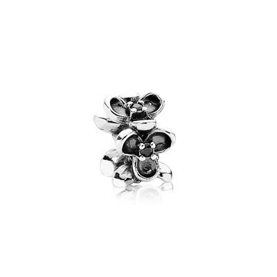Pandora Floral Elegance Spacer Charm with Black CZ