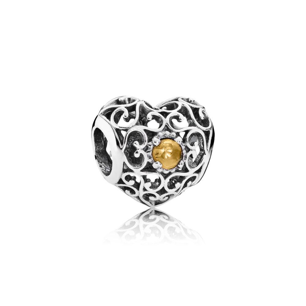 Pandora November Signature Heart Charm with Citrine Charms & Pendants Pandora