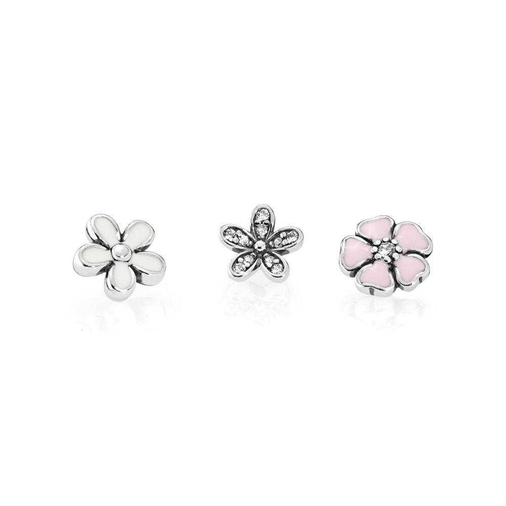 Pandora Poetic Blooms Petites Floating Locket Plates Charms & Pendants Pandora