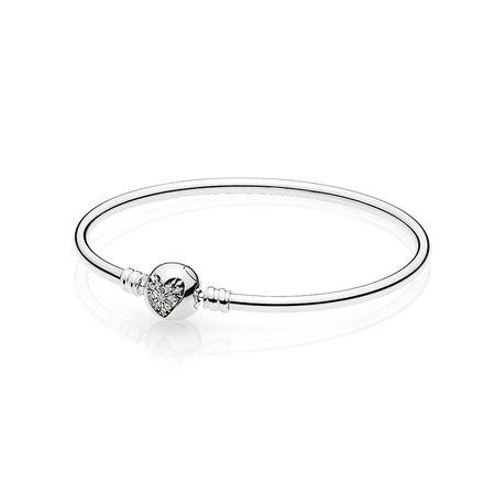 Pandora Heart Of Winter Bangle With Clear Cz Heart Clasp 21 Cm - Bracelets