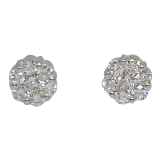 Cluster Diamond Flower Earrings Earrings Miscellaneous