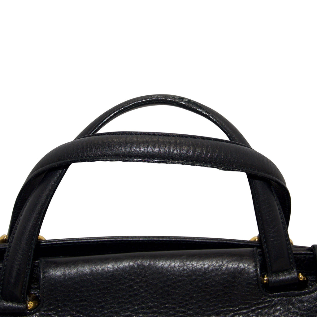 Gucci 1973 Black Leather Large Top Handle Bag - Bags