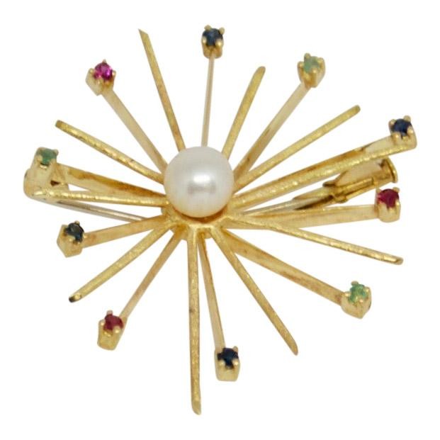Pearl & Coloured Stone Starburst Brooch
