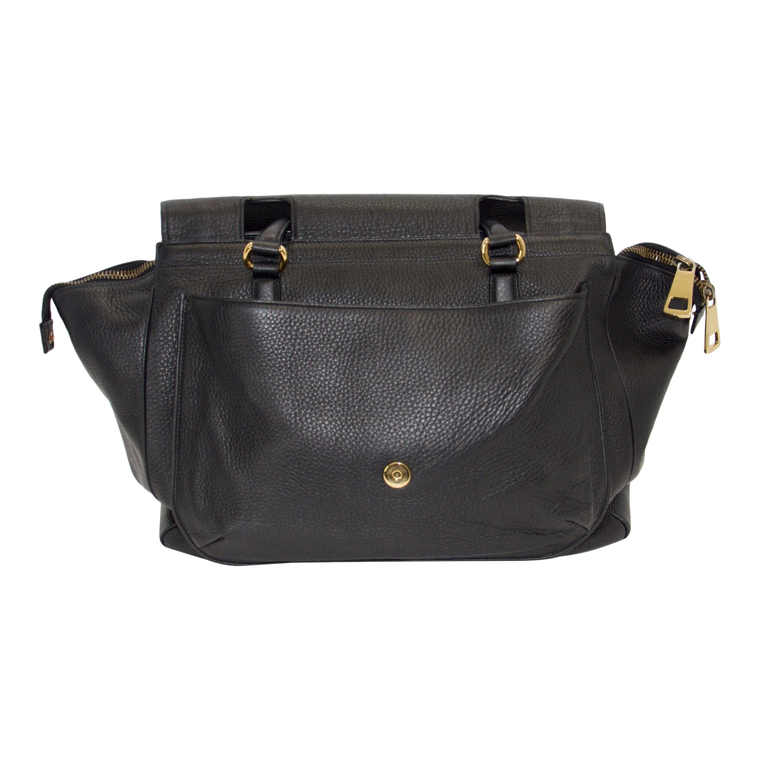 e1e842acf03 Gucci 1973 Black Leather Large Top Handle Bag - Oliver Jewellery