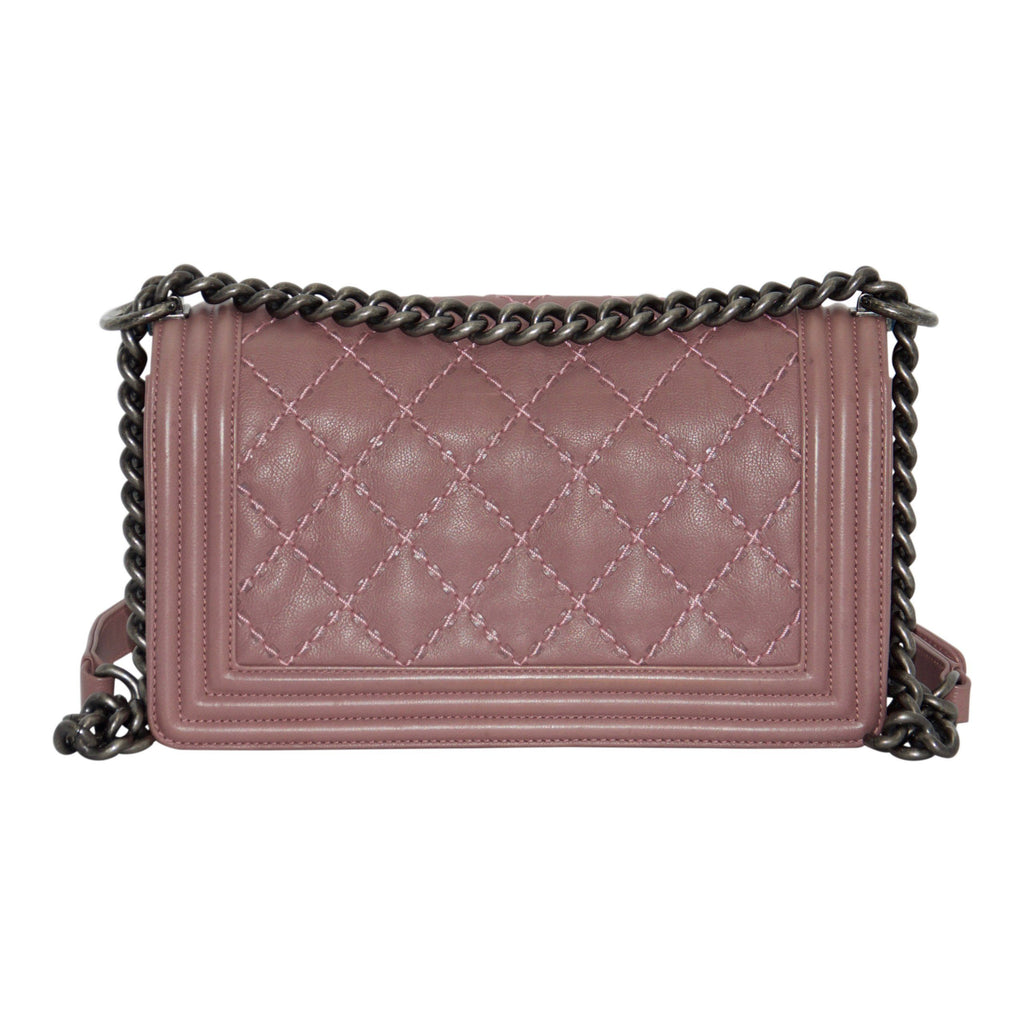 Chanel Medium Pink Double Stitch Boy Bag - Bags