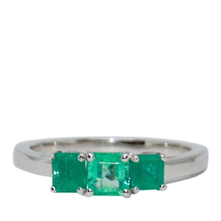 Three Stone Emerald Ring Rings Miscellaneous