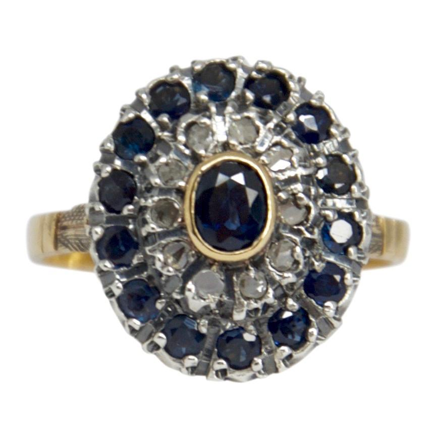 Antique Sapphire And Diamond Cocktail Ring - Rings