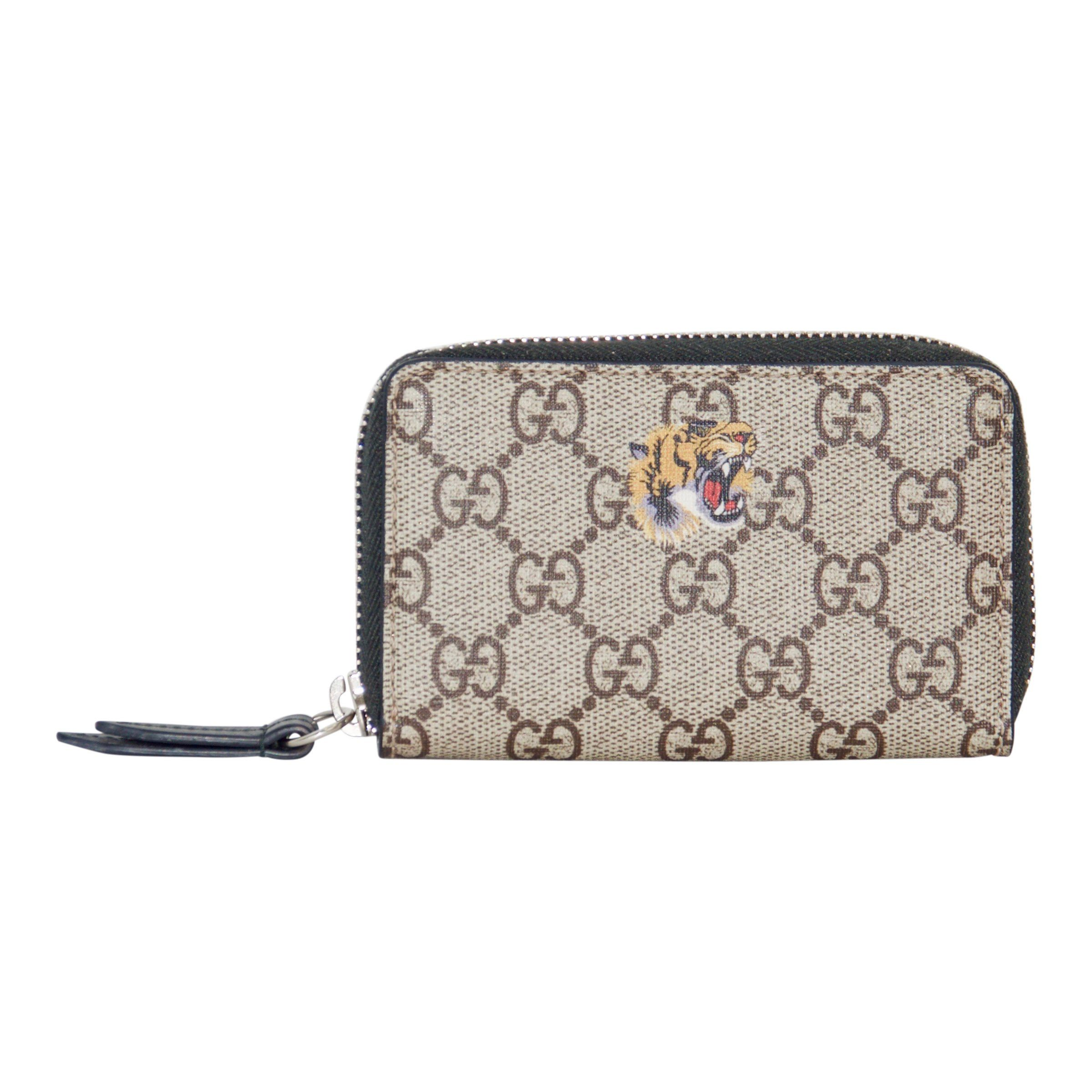 7a769316ce644a Gucci Tiger Print GG Supreme Zip Card Case Wallets Gucci ...