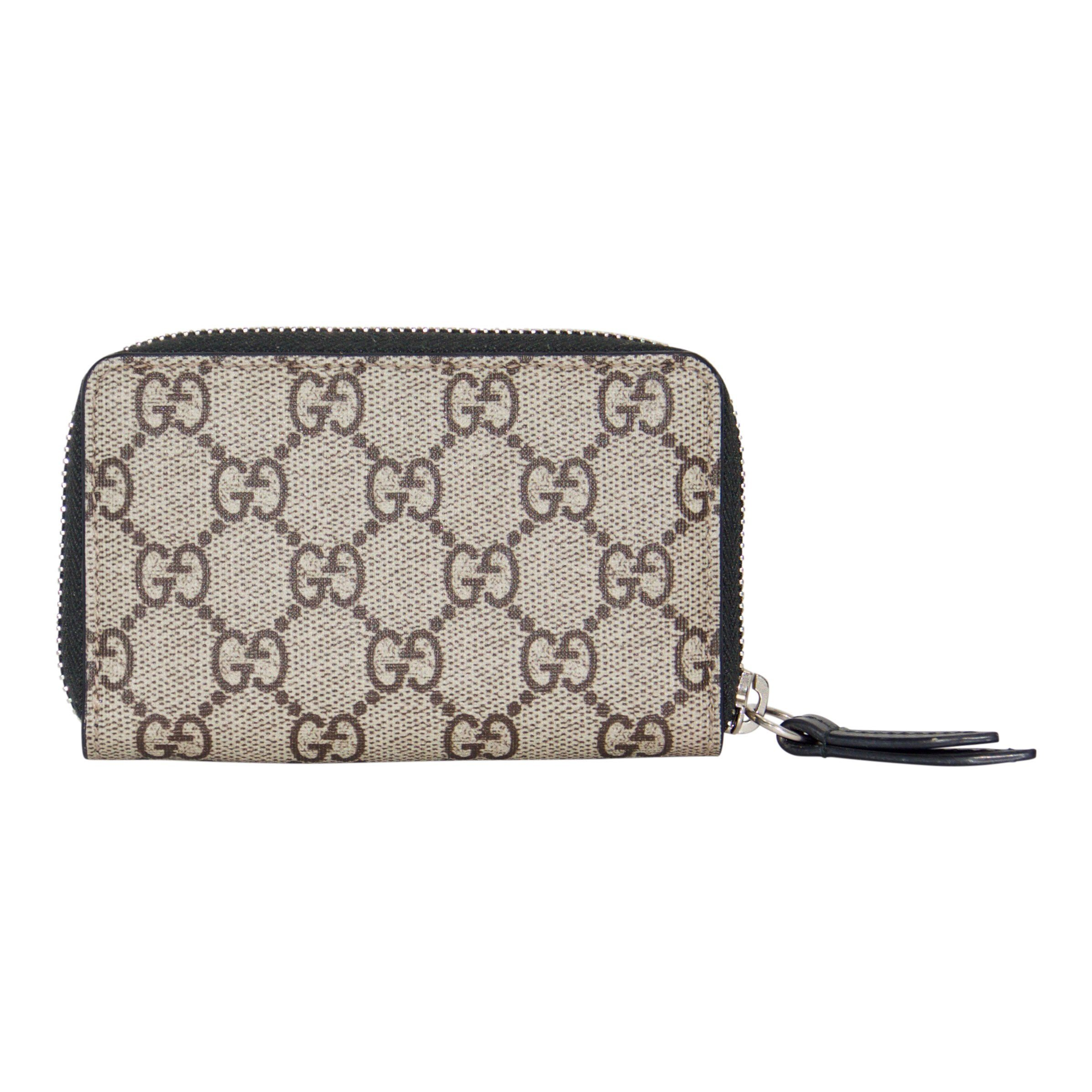 65f323b6cacaa7 ... Gucci Tiger Print GG Supreme Zip Card Case Wallets Gucci ...