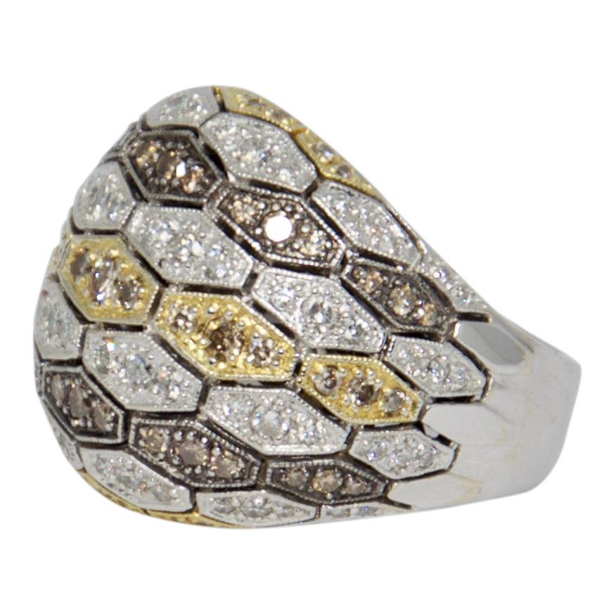 Pave Coloured Diamond Dome Ring Rings Miscellaneous