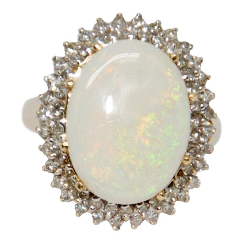 Opal And Diamond Ring - Rings