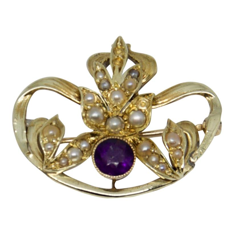 Antique Amethyst And Seed Pearl Brooch - Brooches & Pins