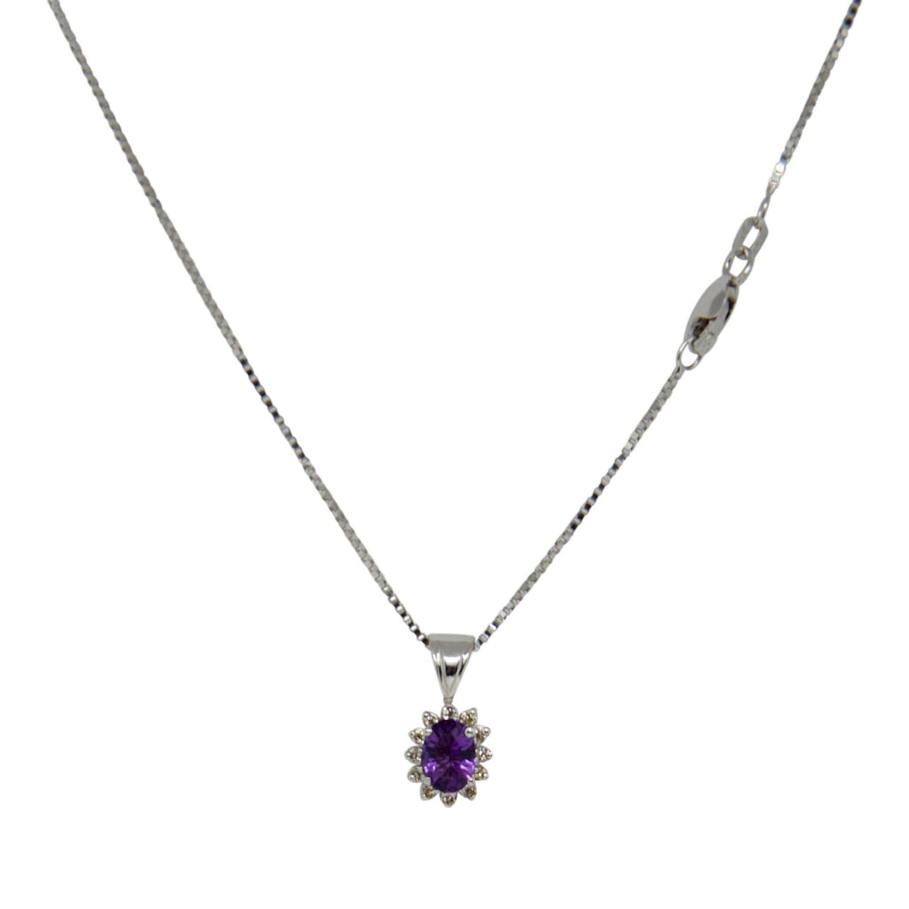Amethyst and Diamond Pendant Necklace Necklaces Miscellaneous
