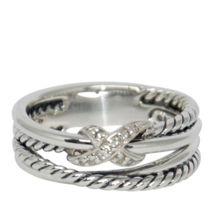 David Yurman Diamond 'X' Crossover Ring