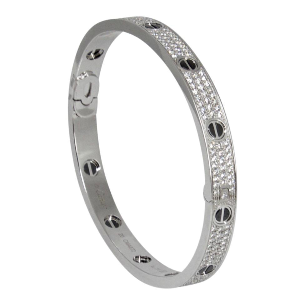 Cartier Pave Diamond and Ceramic Love Bracelet