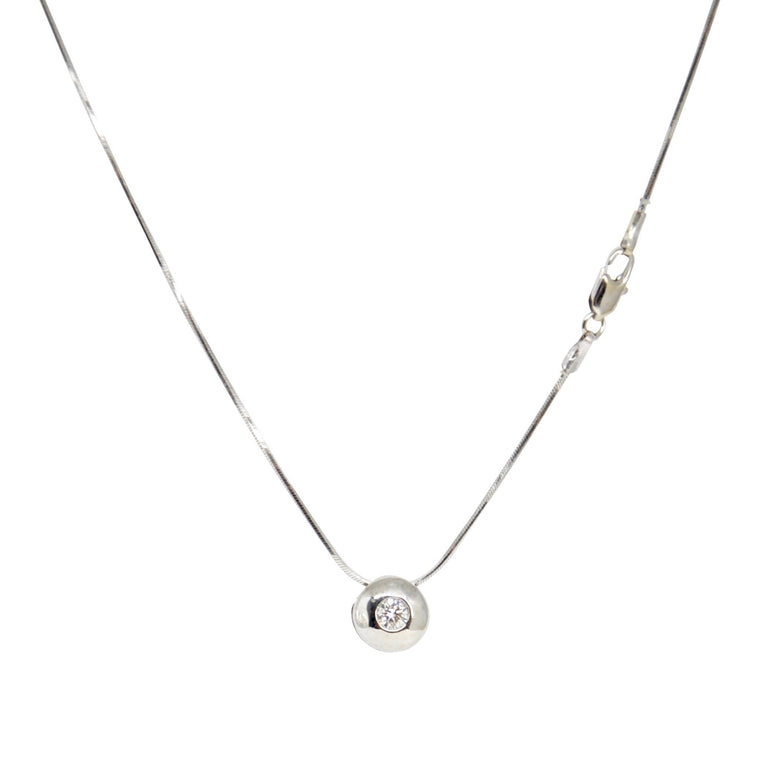 Bezel-Set Diamond Solitaire Pendant Necklace